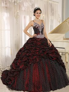 Spaghetti Straps Brush Train Special Fabric Quinceanera Dress with Pick-ups on Sale
