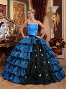 Multicolor Strapless Organza Quinceanera Dress with Appliques and Layers