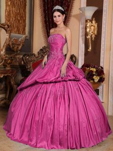 Hot Pink Strapless Taffeta Beaded Sweet 16 Quinceanera Dresses for Cheap