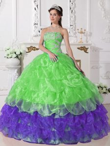 Colorful Strapless Organza Quinceanera Dresses with Appliques Decorated