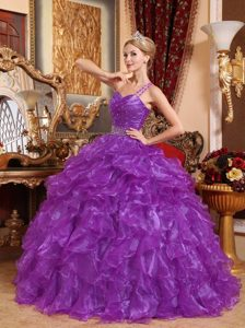 Purple One Shoulder Organza Beaded Quinceanera Dress with Ruffled Layers