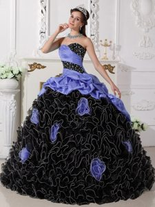Colorful Sweetheart Organza Beaded Quinceanera Dress with Rolling Flowers