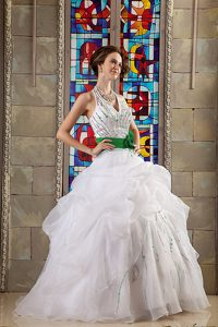 New White Halter Top Quinceanea Dress with Sash and Hand Made Flowers