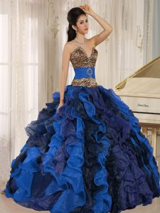 New Multicolor V-neck Ruffled Quinceanera Dress with Leopard and Beading