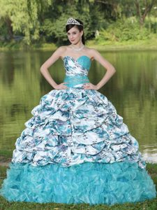 Colorful Printed Organza Beaded Ruffled Quinceanera Dresses with Pick-ups