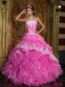 Hot Pink Strapless Organza Quinceanera Gowns with Appliques and Ruffles