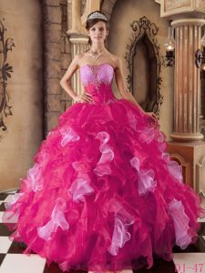 Hot Pink Strapless Organza Beaded and Ruffled Sweet 16 Quinceanera Dress