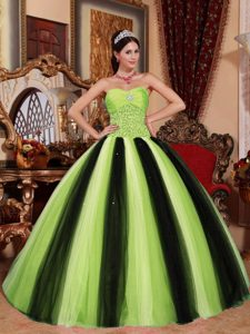 Multi-colored Sweetheart Tulle and Taffeta Quinceanera Gowns with Beading