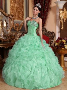 Ruching and Beading Organza Dresses for Quinceanera in Apple Green with Ruffles