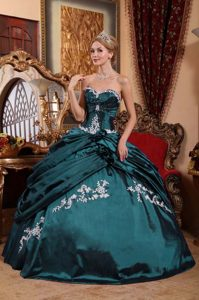 Sweetheart Taffeta Sweet 16 Dresses in Teal with Handmade Flowers and Appliques