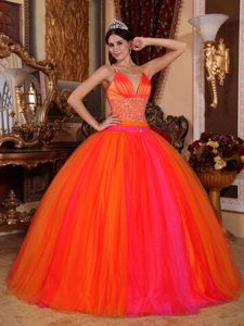 V-neck Beading Orange Sweet Sixteen Quinceanera Dress with Criss Cross on Back