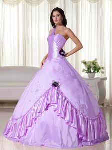 Lavender One Shoulder Dress for Quince with Handmade Flowers and Ruffles 2013