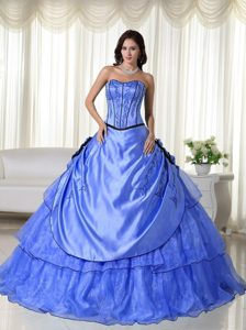 Strapless Floor-length New Quinceanera Gown Dress in Light Blue with Embroidery