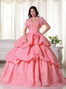 Watermelon Quince Dress in Organza with Hand Made Flowers and Ruffled Layers