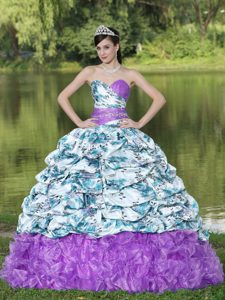 2013 Colorful Printing and Beading Quinceanera Dresses with Pick-ups and Ruffles