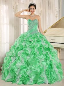 Green Ruffled and Beaded Quinceanera Gown Dresses with Heart Shaped Neckline