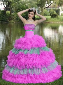 Multi-colored Strapless Sweet Sixteen Dresses with Beadings and Ruffled Layers