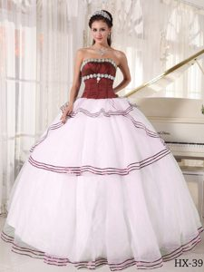 Cinderella Strapless Brown and White Sweet 16 Dresses with Handmade Flowers