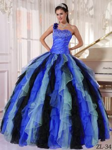 Multi-color One Shoulder Organza Beading and Ruffles Dress for Quinceanera