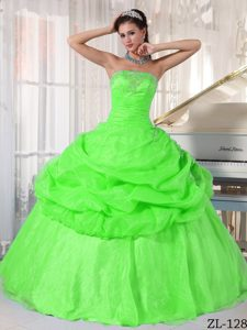 Strapless Organza Beading Pick-ups Quinceanera Gown Dress in Spring Green