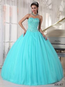 Turquoise Sweetheart Ball Gown Beading Sweet Sixteen Quinceanera Dresses