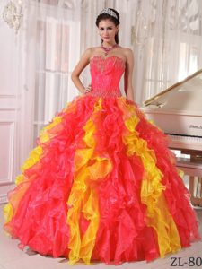 Sweetheart Sequins Quinceanera Dress in Coral Red and Yellow with Ruffles