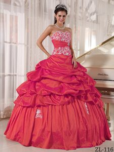Coral Red Sweetheart Ball Gown Appliques Sweet Sixteen Dresses by Taffeta