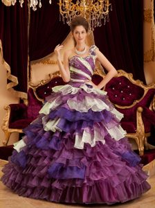Perfect Purple One Shoulder Sweetheart Quinceanera Dress with Ruffled Layers