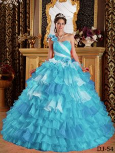 Aqua Blue One Shoulder Ruffled and Beaded Quinceanera Gown in Organza