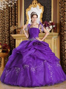 Purple Spaghetti Straps Floor-length Organza Appliqued Quinceaneras Dress