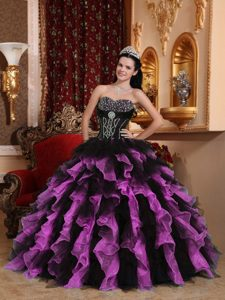 Exclusive Sweetheart Quince Dresses with Beading and Ruffles in Organza