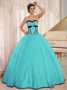 Aqua Blue Sweetheart Embroidery Organza Qunceanera Dress with Beading