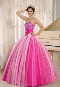 Multi-color 2013 New Strapless Tulle Dresses for Quince with Handle Flowers