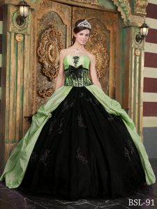 Attractive Green and Black Taffeta 2013 Sweet 15 Dresses with Appliques
