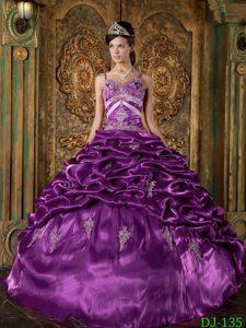 Eggplant Purple Taffeta Long Magnificent Quinceaneras Dress for Winter