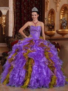 Purple and Olive Sweetheart Organza Quinceanera Dress with Ruffles on Promotion