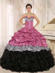 Rose Pink and Black Sweetheart Leopard Ruffled Quinceanera Dresses with Pick-ups