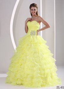 Ruffled Sweetheart Appliqued Military Ball Quinceaneras Dress with Ruches