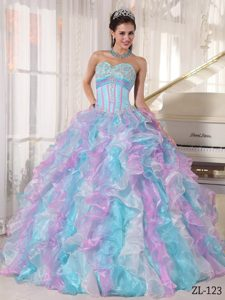 Multi-color Ball Gown Sweetheart Organza Sweet 16 Dresses with Appliques