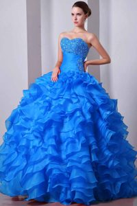 Sweetheart Ruffled Organza Quince Dresses with Beading in Aqua Blue