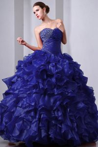 Custom Made Sweetheart Quinceanera Dress with Ruffles in Dark Blue