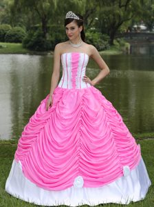 Strapless Ball Gown Style Sweet Sixteen Dresses in Hot Pink and White