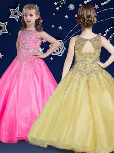 Hot Pink Ball Gowns Organza Scoop Sleeveless Beading Floor Length Zipper Pageant Gowns For Girls
