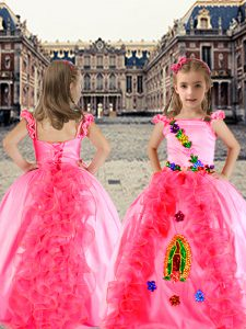 Rose Pink Ball Gowns Organza and Taffeta Spaghetti Straps Cap Sleeves Beading and Appliques and Ruffles Floor Length Lace Up Child Pageant Dress