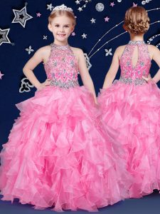 Halter Top Rose Pink Zipper Child Pageant Dress Beading and Ruffles Sleeveless Floor Length