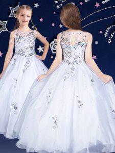 Scoop Sleeveless Floor Length Beading Zipper Little Girls Pageant Dress Wholesale with White