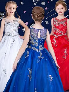 Inexpensive White and Red and Royal Blue Kids Pageant Dress Quinceanera and Wedding Party with Beading Scoop Sleeveless Zipper