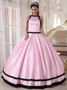 Special Baby Pink and Black Bateau Floor-length Taffeta Quinceanera Dress for Cheap