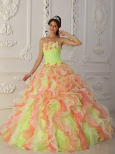 Lovely Multi-colored Strapless Ball Gown Sweet 15 Dresses with Ruffles and Flowers
