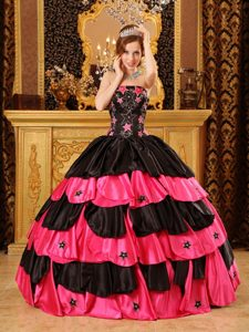 Hot Pink and Black Strapless Taffeta Quinceanera Dress with Beading on Promotion